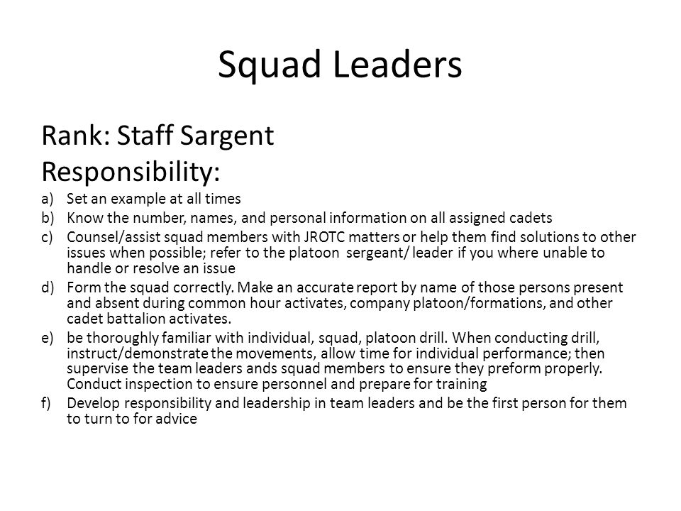 Squad Leaders Rank: Staff Sargent Responsibility: