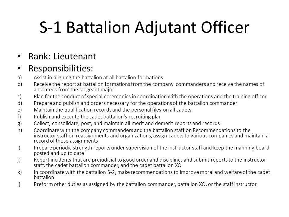 S-1 Battalion Adjutant Officer