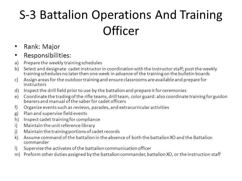 S-3 Battalion Operations And Training Officer