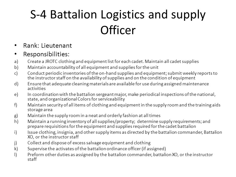 S-4 Battalion Logistics and supply Officer