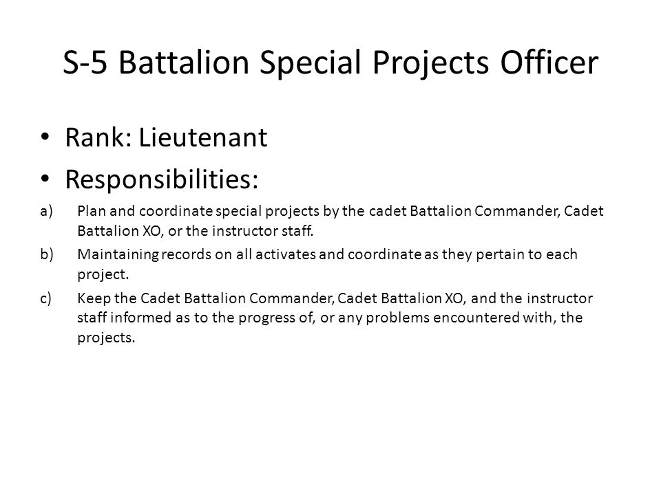 S-5 Battalion Special Projects Officer