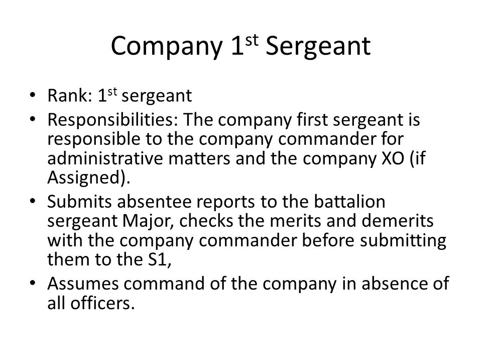 Company 1st Sergeant Rank: 1st sergeant