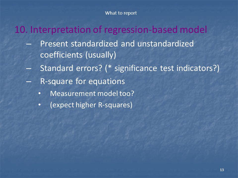 10. Interpretation of regression-based model