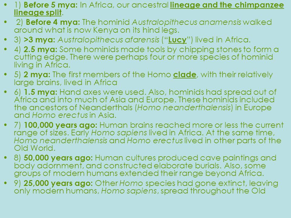 1) Before 5 mya: In Africa, our ancestral lineage and the chimpanzee lineage split.