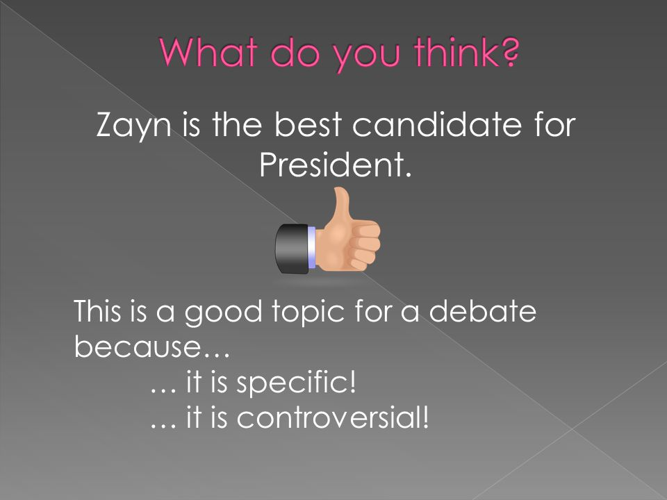 Zayn is the best candidate for President.