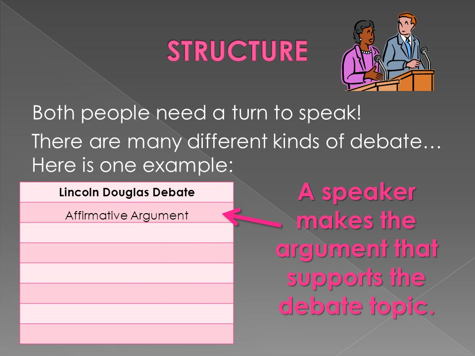 STRUCTURE A speaker makes the argument that supports the debate topic.