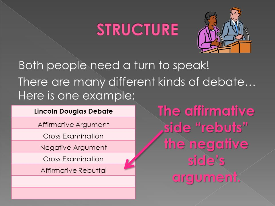 STRUCTURE The affirmative side rebuts the negative side's argument.