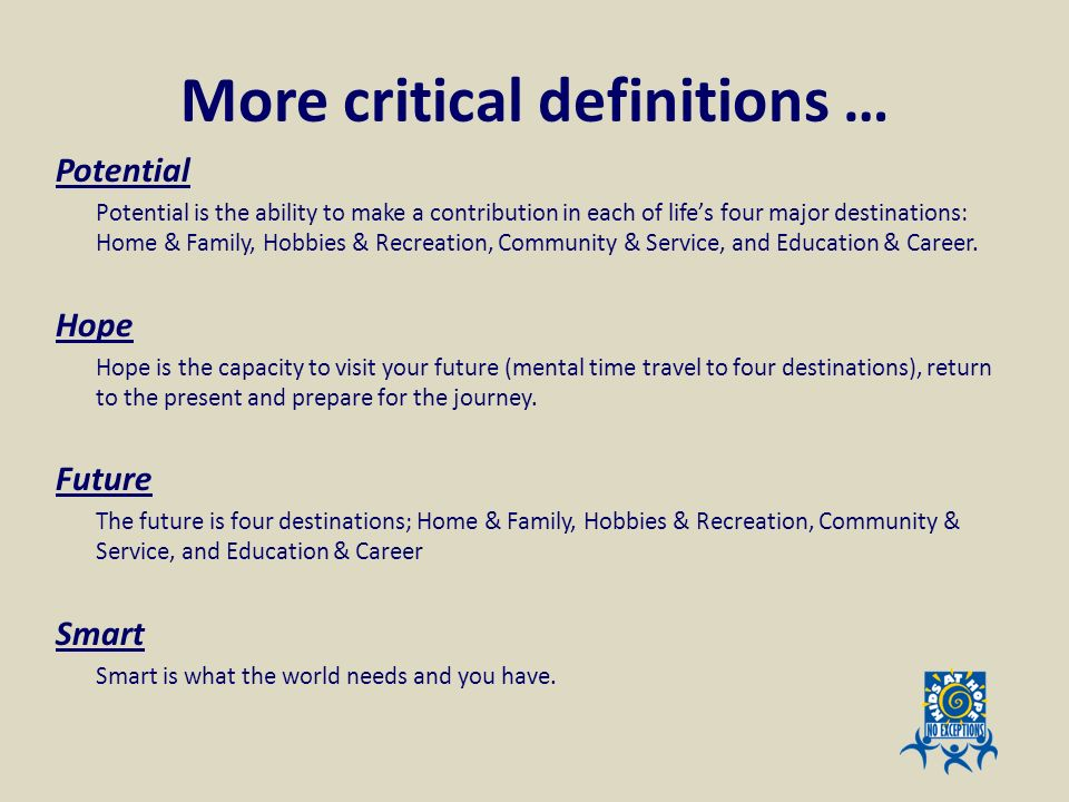 More critical definitions …
