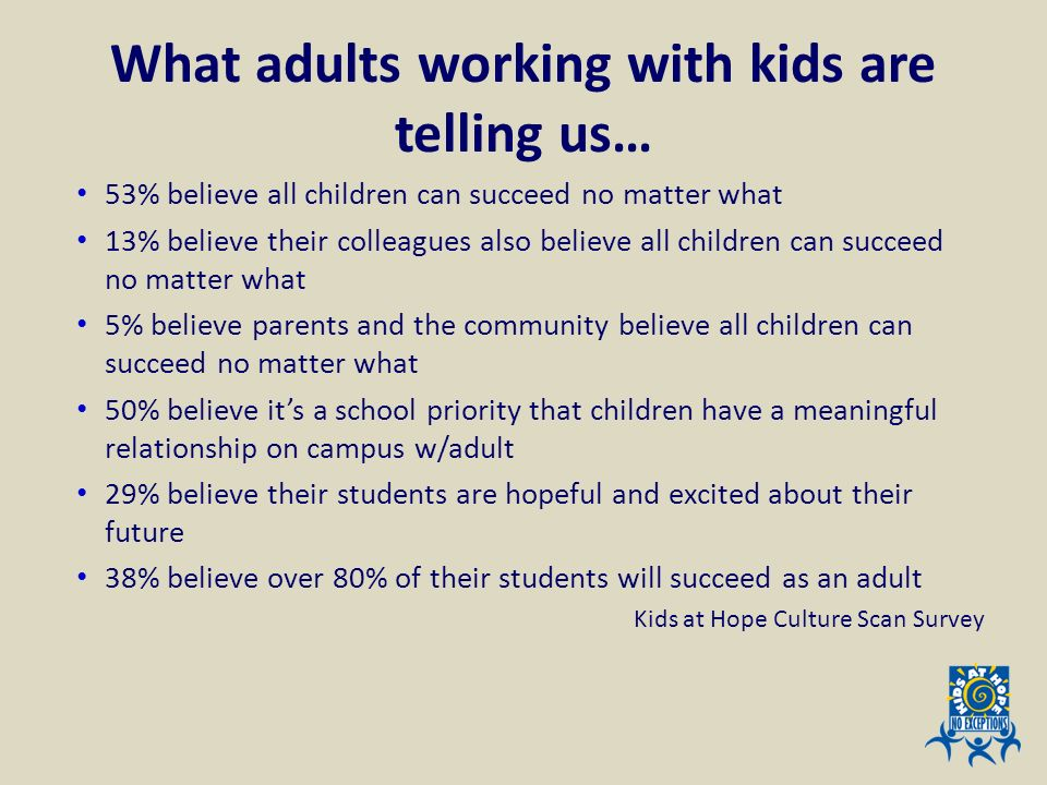 What adults working with kids are telling us…