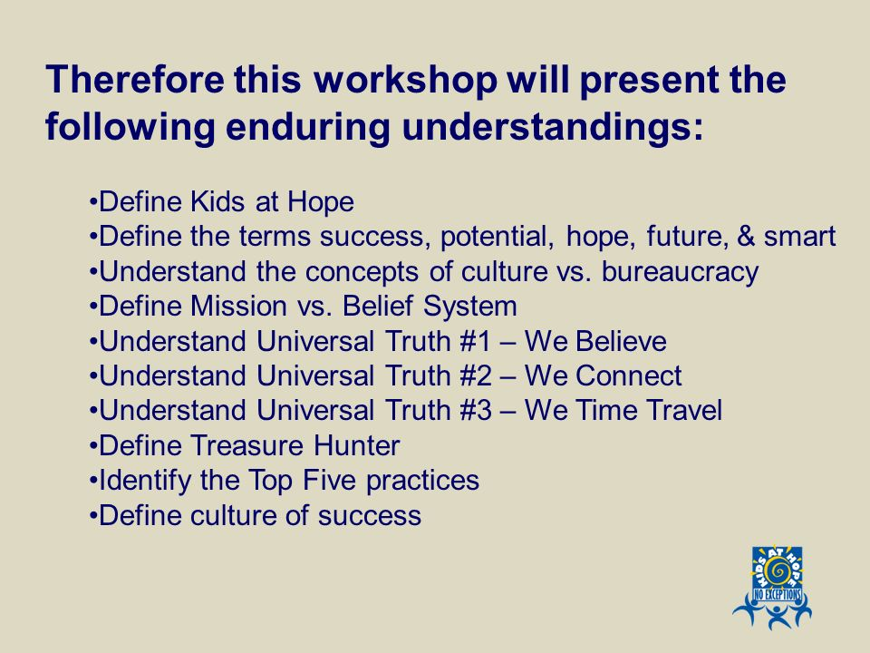 Therefore this workshop will present the following enduring understandings: