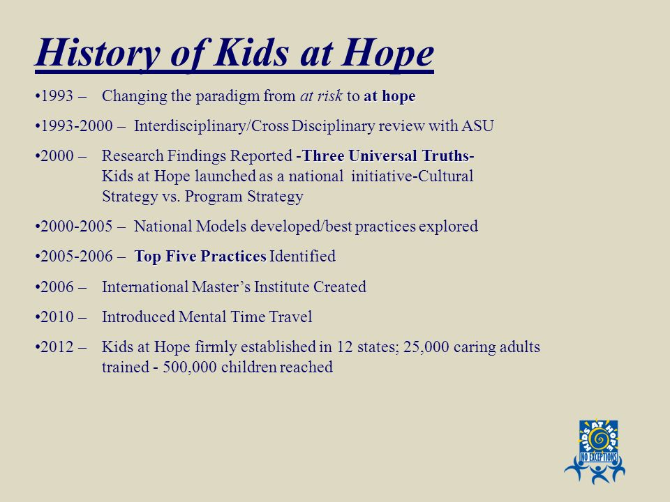 History of Kids at Hope 1993 – Changing the paradigm from at risk to at hope. 1993-2000 – Interdisciplinary/Cross Disciplinary review with ASU.