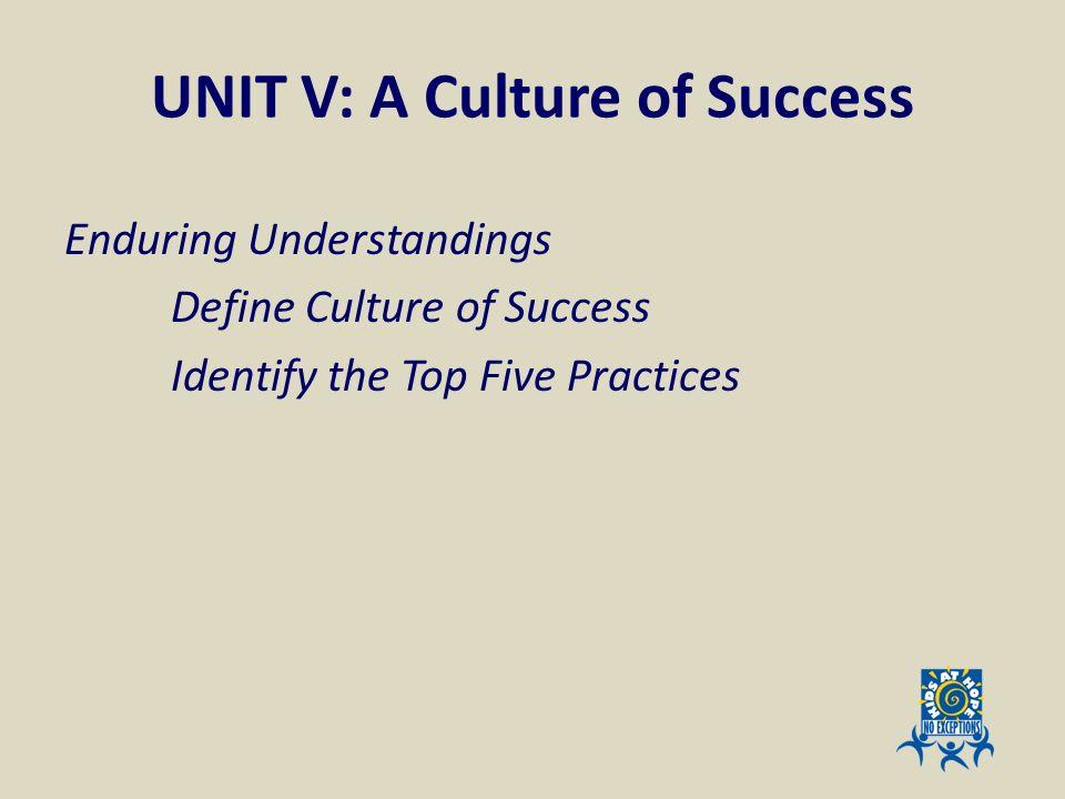 UNIT V: A Culture of Success