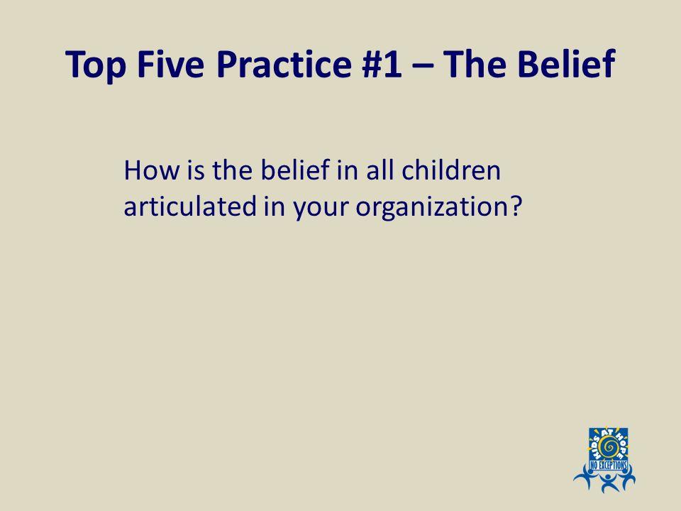 Top Five Practice #1 – The Belief