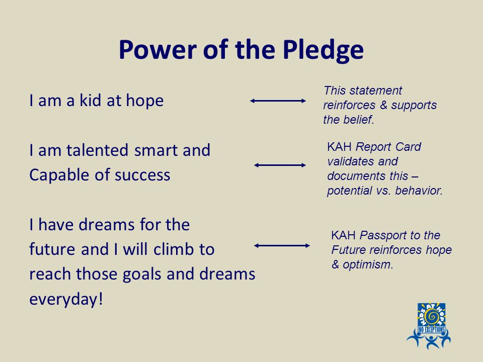 Power of the Pledge This statement reinforces & supports the belief.
