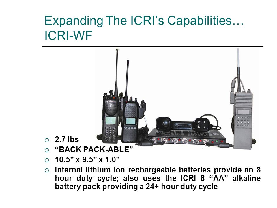 Expanding The ICRI's Capabilities… ICRI-WF