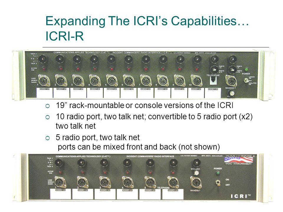 Expanding The ICRI's Capabilities… ICRI-R