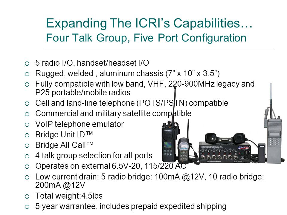 Expanding The ICRI's Capabilities… Four Talk Group, Five Port Configuration