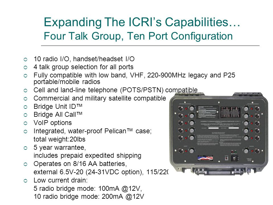 Expanding The ICRI's Capabilities… Four Talk Group, Ten Port Configuration