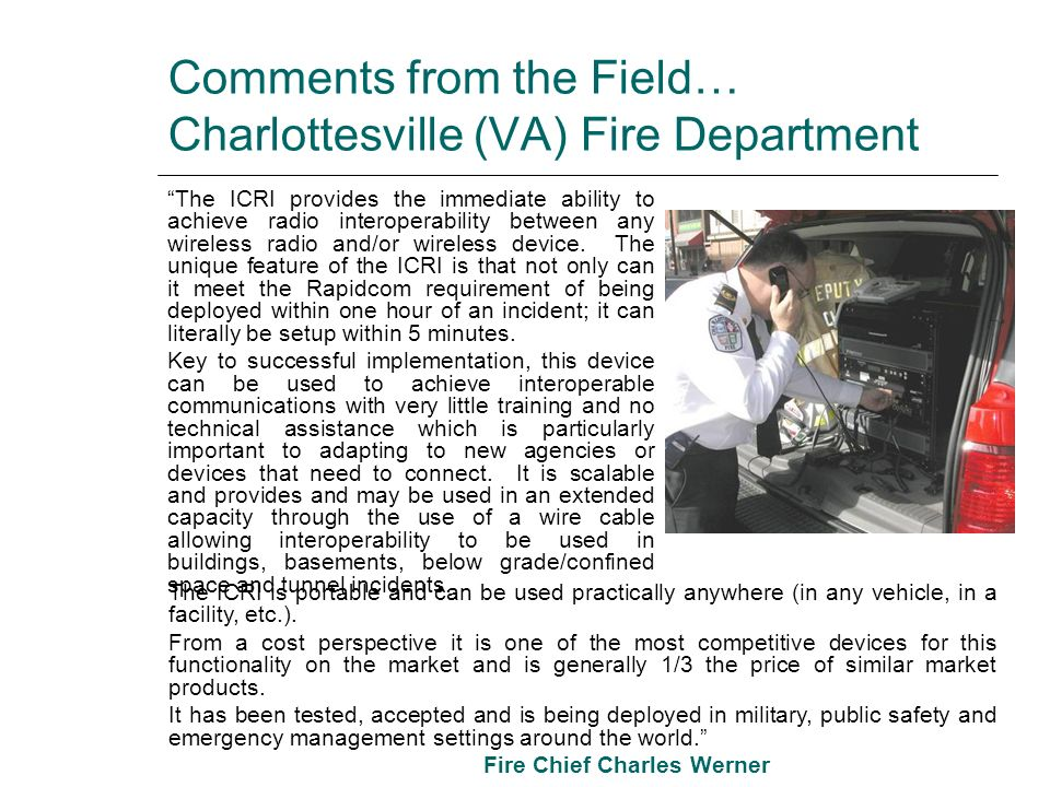 Comments from the Field… Charlottesville (VA) Fire Department