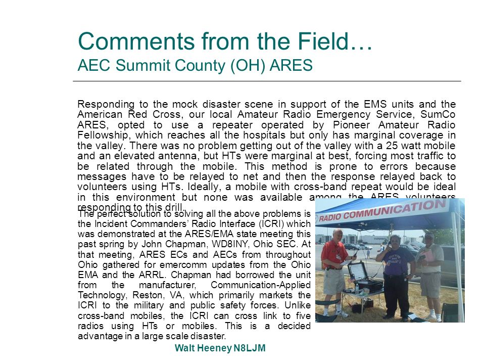Comments from the Field… AEC Summit County (OH) ARES