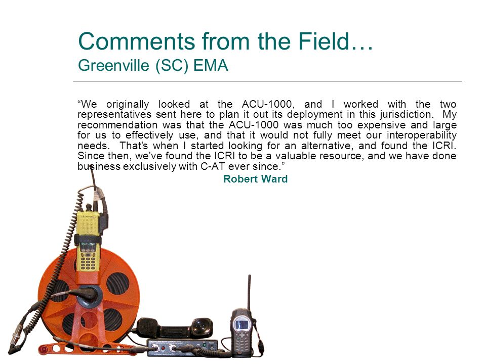 Comments from the Field… Greenville (SC) EMA