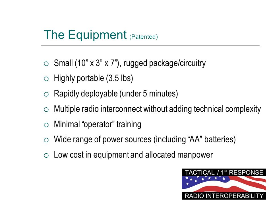 The Equipment (Patented)