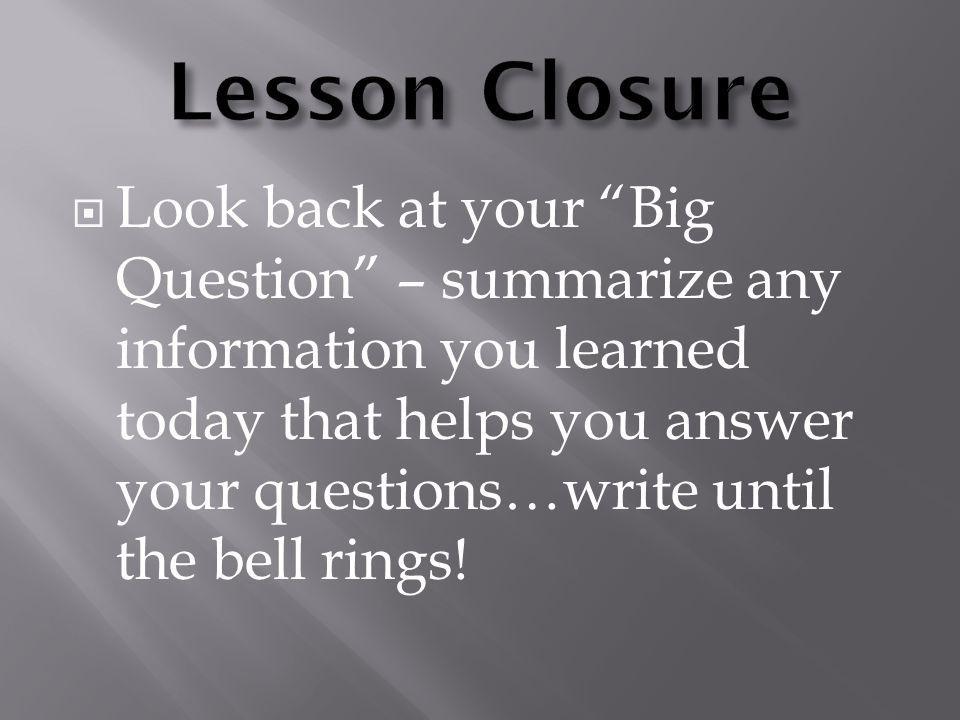 Lesson Closure