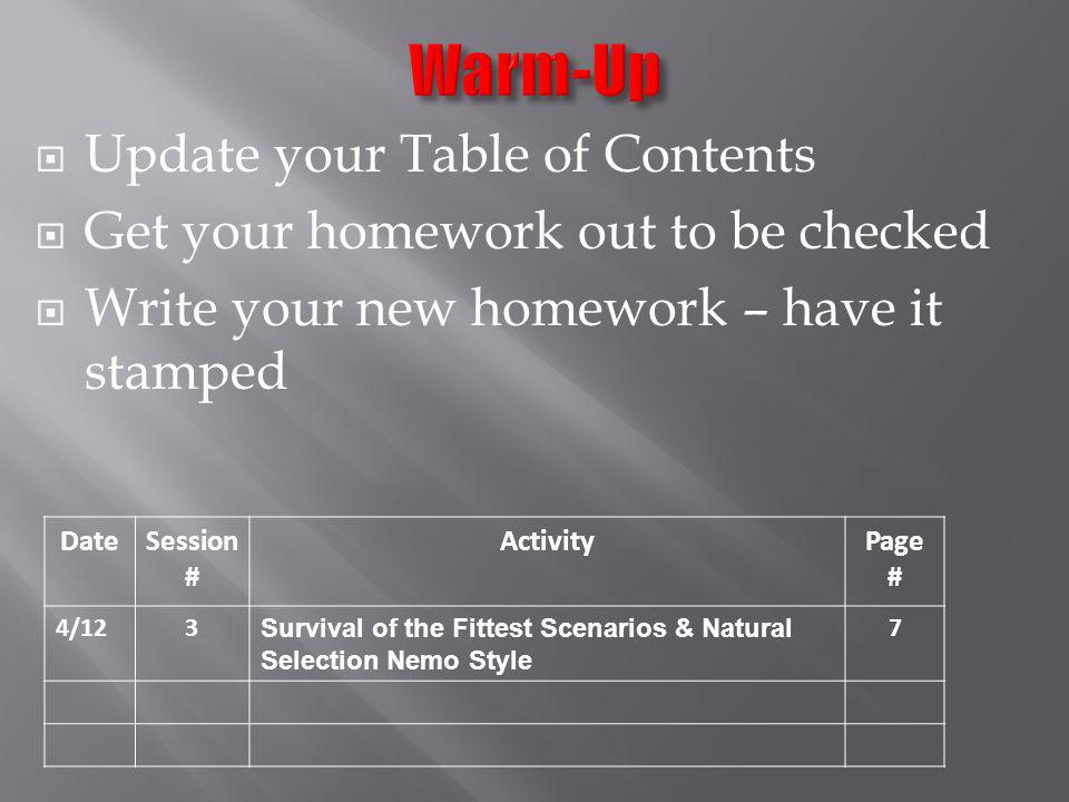 Warm-Up Update your Table of Contents