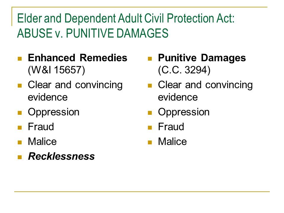 Elder and Dependent Adult Civil Protection Act: ABUSE v
