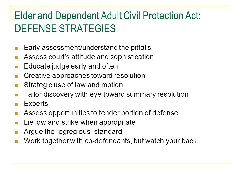 Elder and Dependent Adult Civil Protection Act: DEFENSE STRATEGIES
