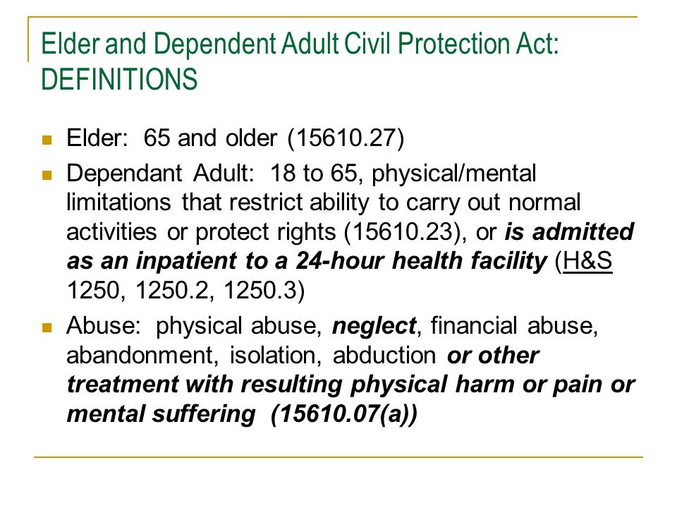 Elder and Dependent Adult Civil Protection Act: DEFINITIONS