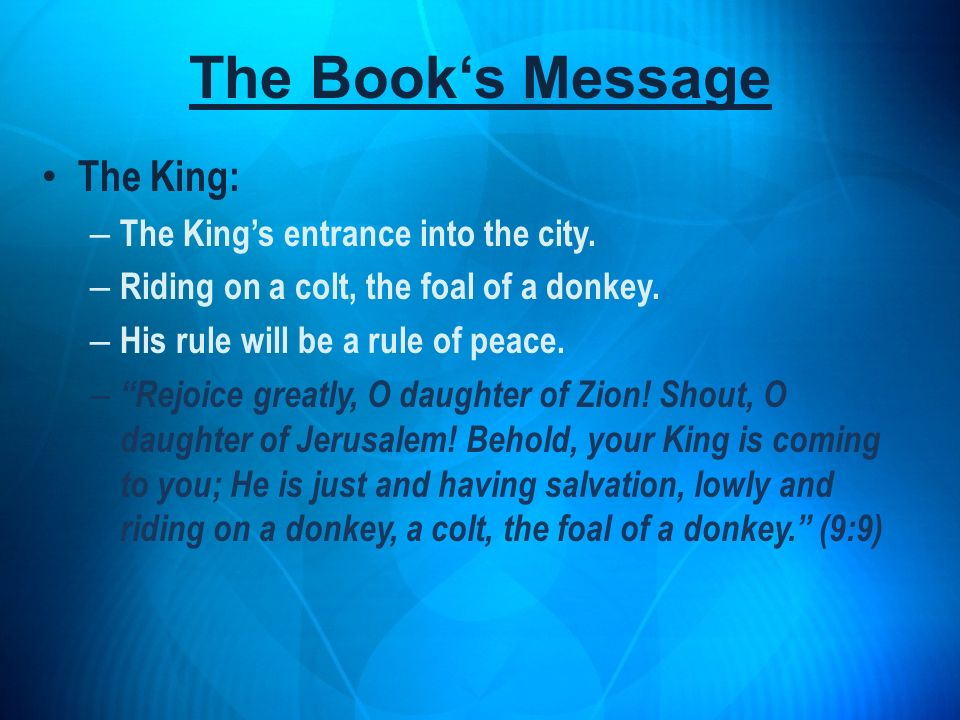 The Book's Message The King: The King's entrance into the city.