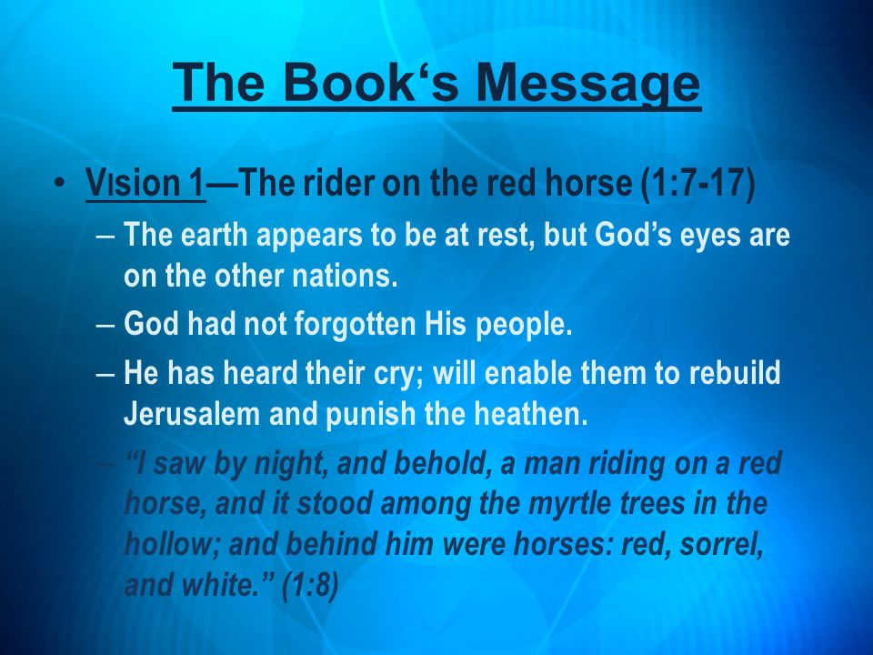 The Book's Message Vision 1—The rider on the red horse (1:7-17)