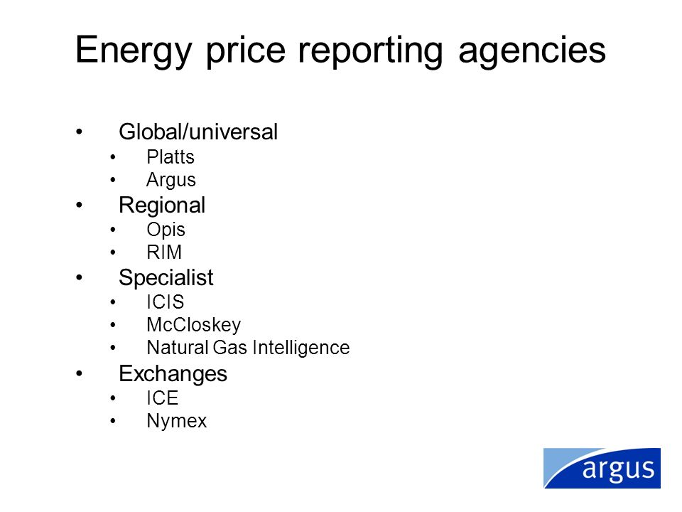 Energy price reporting agencies