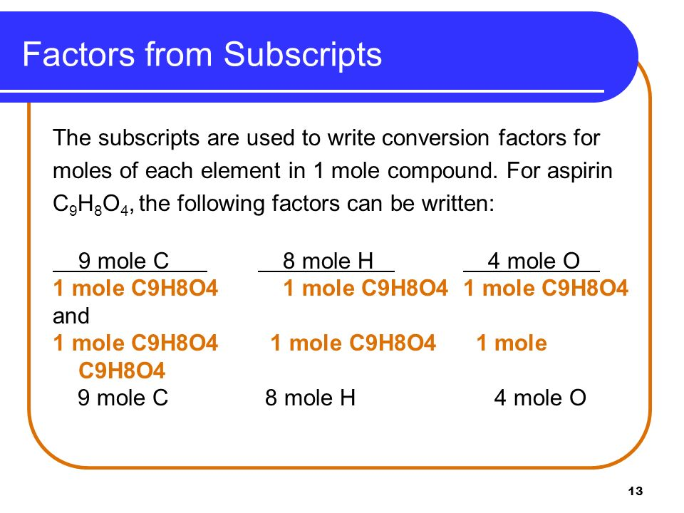 Factors from Subscripts