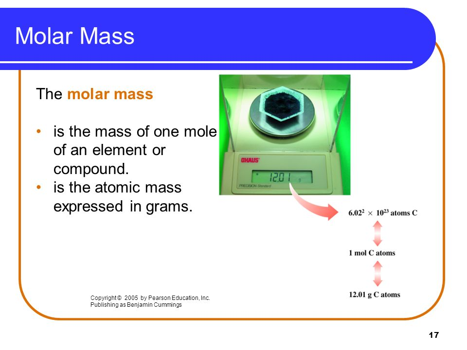 Molar Mass The molar mass