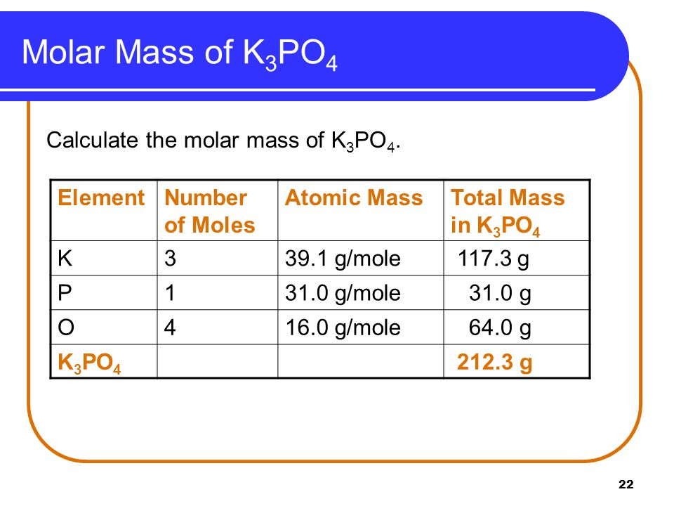 Molar Mass of K3PO4 Calculate the molar mass of K3PO4. Element