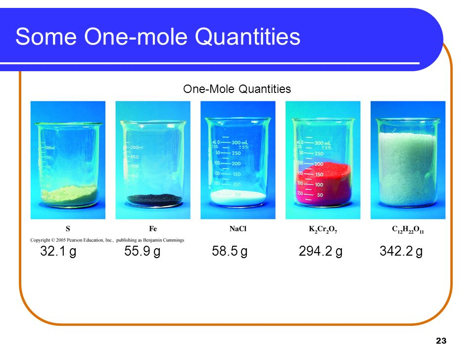 Some One-mole Quantities