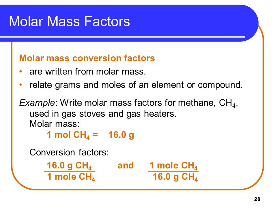 Molar Mass Factors Molar mass conversion factors