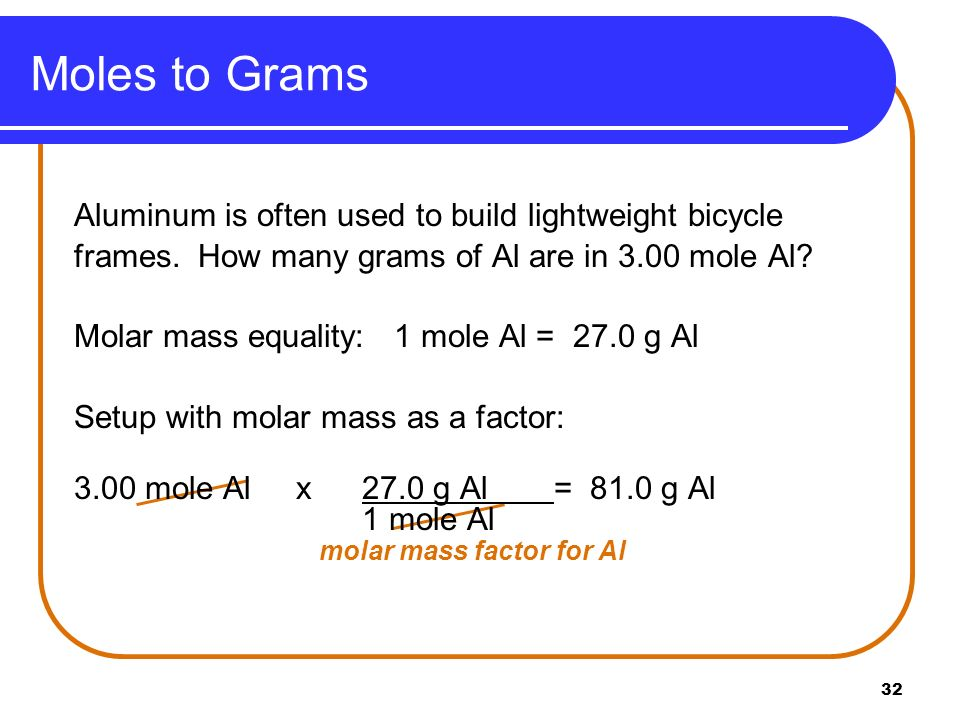 Moles to Grams Aluminum is often used to build lightweight bicycle