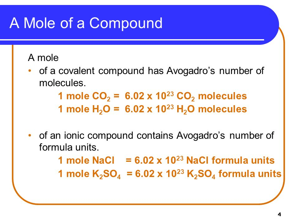 A Mole of a Compound A mole