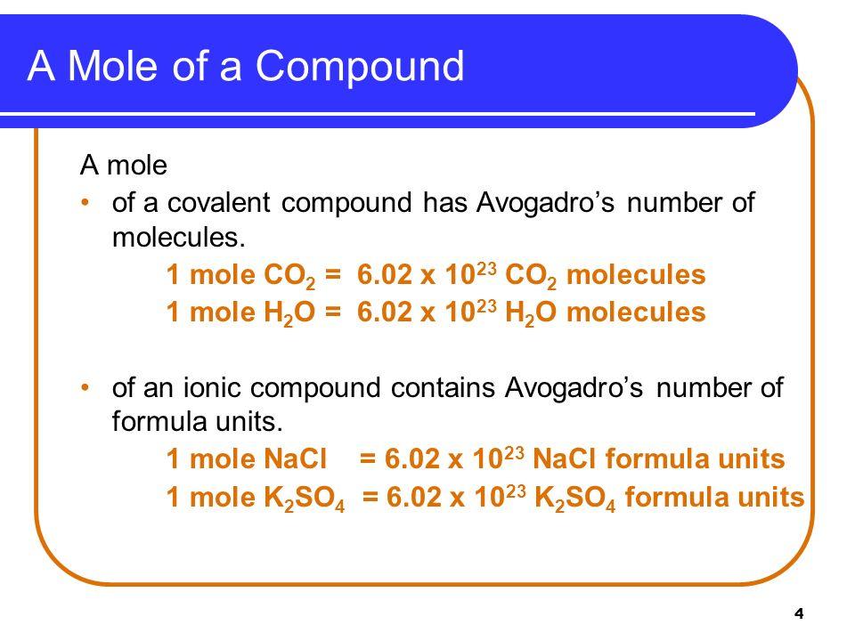 A Mole of a Compound A mole
