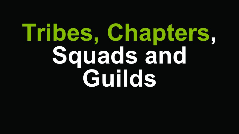 Tribes, Chapters, Squads and Guilds