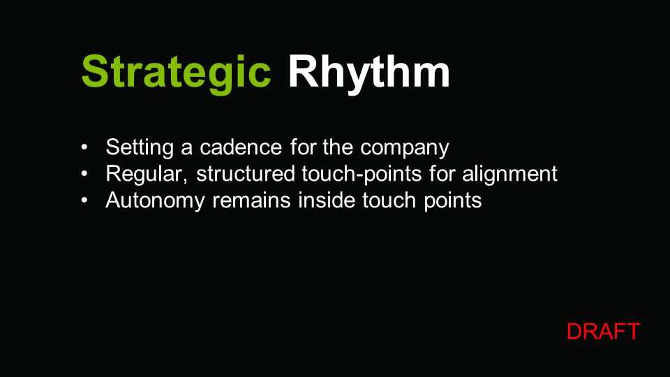 Strategic Rhythm Setting a cadence for the company