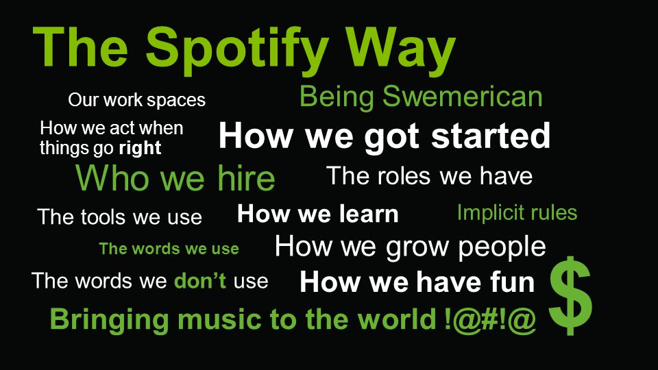 $ The Spotify Way How we got started Who we hire Being Swemerican