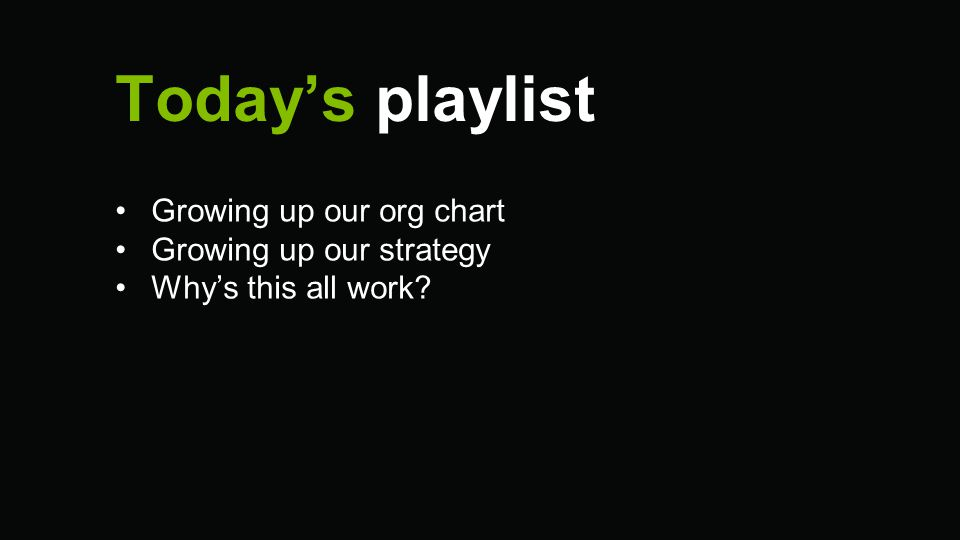 Today's playlist Growing up our org chart Growing up our strategy