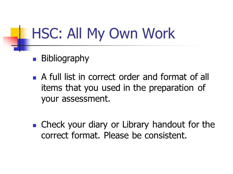 HSC: All My Own Work Bibliography