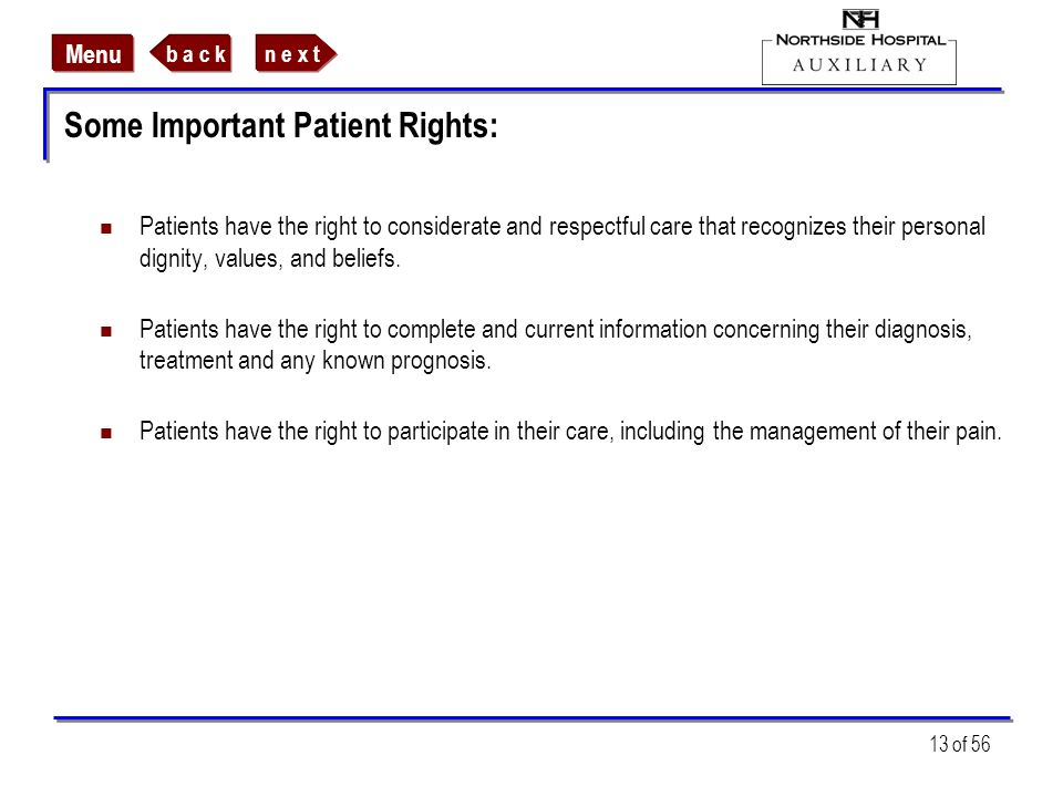 Some Important Patient Rights:
