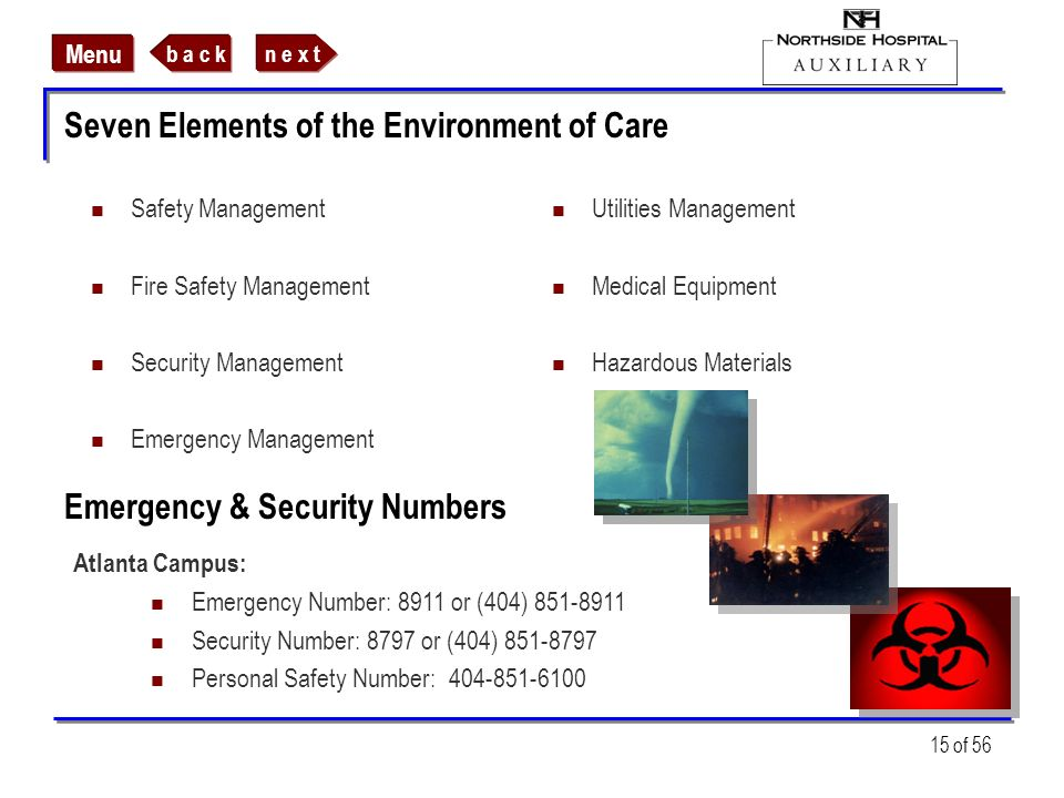 Seven Elements of the Environment of Care
