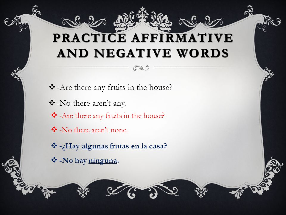 Practice Affirmative and Negative Words